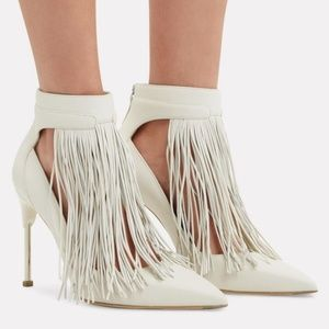 Alexander McQueen Ivory Fringe Leather Pumps